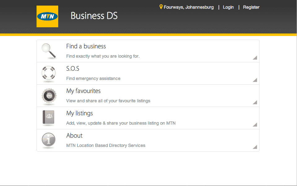 The new MTN Business Directory Services app South Africa.